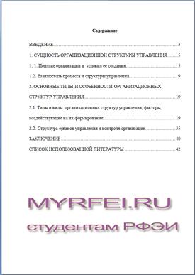 РФЭИ курсовые работы Курсовая работа в РФЭИ на тему организационная структура управления